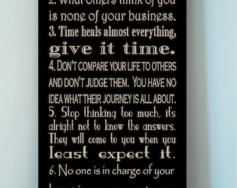 Beautiful 10x24 wooden board sign with subway art quote..7 Rules of Life