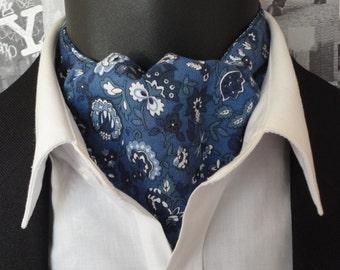 Cavat, Reversible Cravat, Blue Floral Cravat, Blue Flower Print Cravat, Cravats for Men,
