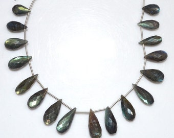 "Natural Labradorite Tear Drop Briolette - Labradorite Faceted Beads , Labradorite Briolette , 8x14 - 9x23 mm , 8"" - BL1430"