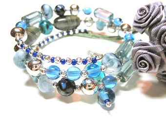 JEWELRY BRACELET Blue Bead Bracelet Boho Wrap Cuff Blue Bracelet Various Size And Hues Of Blue Beads Statement Wrap Cuff Gift Idea For Her