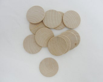 "12 wooden Circle discs, 1 1/4"" wood (1.25"") 1/8"" thick unfinished DIY rounded edges"