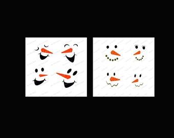 Set of 2 Snowman Faces bundle