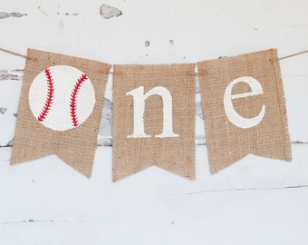 Baseball First Birthday Banner, Baseball Highchair Banner, Baseball Banner, Baseball One Year Old Banner, Baseball Burlap Banner, B281