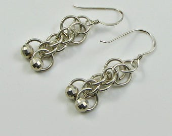 Chainmaille Earrings in Argentium; Ooak Art Deco Weave Earrings; Dangle Earrings in Silver; Anniversary Gift for Her; Reward Yourself