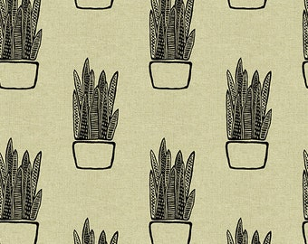 Sarah Golden for Andover FABRIC - Tiger Plant - Snake Plant in Light
