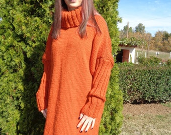 Long, oversized, chunky knitted sweater