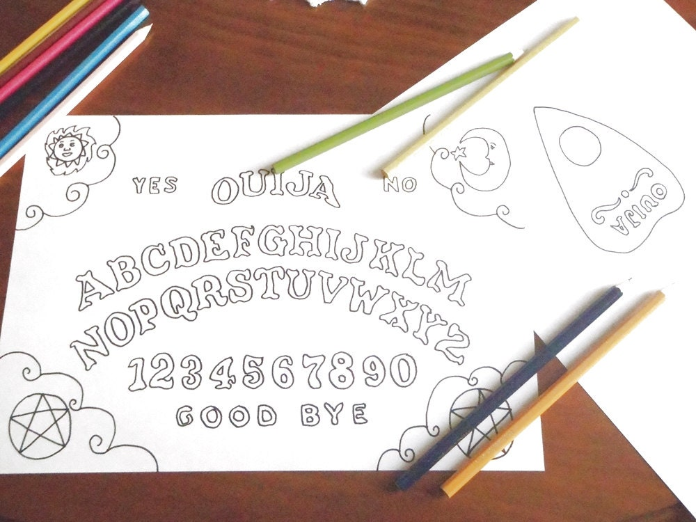 Gothic Coloring Pages For Adults : Ouija board coloring weegee adult whimsical halloween gothic