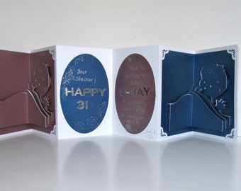 TWINS' Mother Birthday Pop Up Accordion Book-Card Original Handmade in Metallic Blue, Metallic Purple w/Hard Cover Binding CUSTOM ORDER OOaK