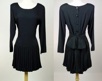 1980s black pleated dress, long sleeve rayon button up drop waist Byer dress, cinched waist, small to medium
