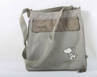 Snoopy, Vintage, Adult, Laptop, Messenger, Bag, Crossbody, Army Green, Adjustable Strap, Peanuts, Light, Thin, Zipper, Accessory ~ 160916