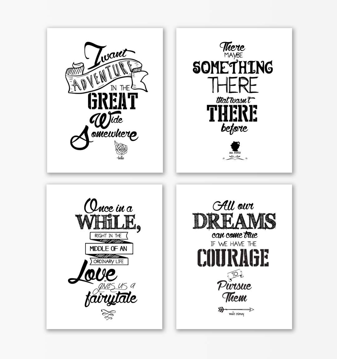 Quotes On Beauty Disney Beauty And The Beast Print Quotesbeauty And The Beast