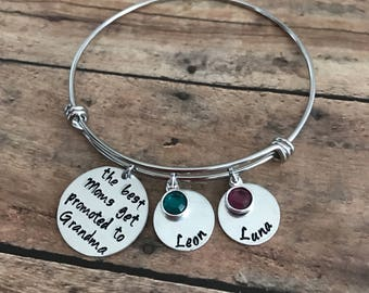 Personalized hand stamped bangle bracelet with names and birthstones, grandmother gift, custom stamped jewelry