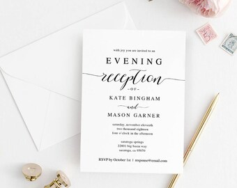 Wedding reception invitation reception party printable printable wedding reception invitation template evening reception invite diy formal reception card editable stopboris Gallery