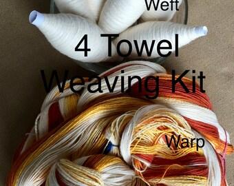 Beige Striped Weaving Kit for 4 Towels, Weaving Loom Kit, How to Weave Kit, Loom Weaving, DIY Weaving Kit, Pre-wound Warp, Handweaving