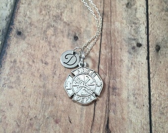 Firefighter badge initial necklace - firefighter jewelry, fireman's badge necklace, firefighter necklace, silver maltese cross pendant
