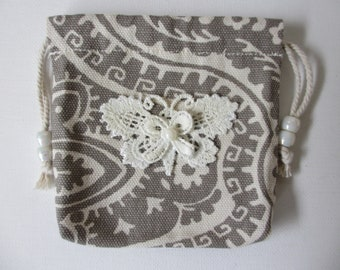 Handcrafted Rosary Canvas Drawstring  Pouch