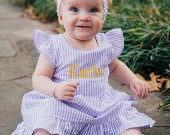 Monogram Easter Dress, Seersucker Dress, monogram, Monogram Outfit, Seersucker, Easter monogram, Easter Dress, personalized, matching easter