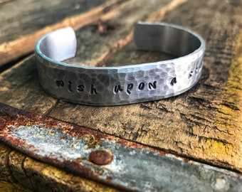 Wish upon a star- Hand Stamped Aluminum Cuff Bracelet- Gift for her- Gift for mom- - Hammered Texture