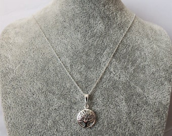 Sterling Silver Tree of Life Pendant Necklace.