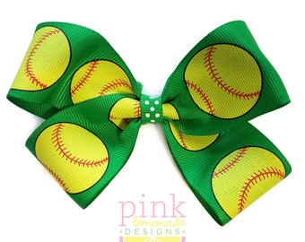 Large Kelly Green Fast Pitch Softball Hair Bow