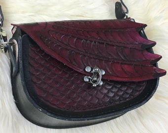 Leather Dragon Purse - Dk Red Dragon Shoulder Bag - Women's Leather Dragon Bag - Dragon Scale Bag - Dragon Gift for Her - Medieval Cosplay