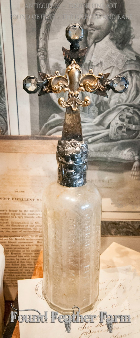Handmade Antique Glass Cross Bottle ~ Unearthed Artifact Series