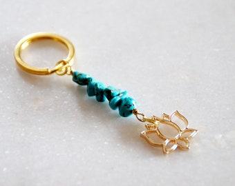 Raw Gemstone Lotus Key Chain, Crystal Key Chain, Chip Bead Charm Key Ring, Hippie Keyring, Boho Keychain, Gift for women, Keychain for women