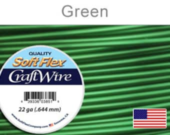 22 Gauge Green Soft Flex Wire,  Round, Non-Tarnish,  Supplies, Findings