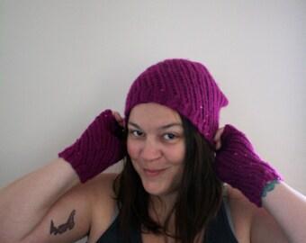 Knit Beret Women's Hat Magenta Fuchsia Cap Tam Lace Knit Lace Sequins