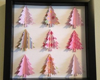 Pink Christmas Tree, 3D Paper art