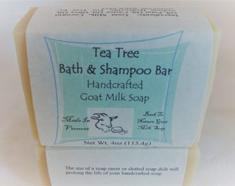 Tea Tree Goat Milk Bath & Shampoo Bar/essential oil soap/goat milk soap, Artisan soap, cold process soap handmade, sustainable palm
