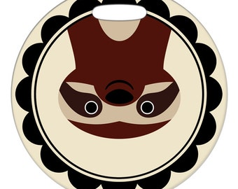 Luggage Tag - Sloth - 2.5 inch or 4 Inch Round Large Plastic Bag Tag