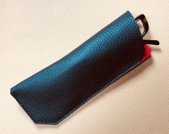 Leather Glasses Case, Spectacle Case, Sunglasses case, Eyeglass case, Sunglass Case, BLACK-RED