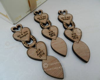 Personalised Heart & Horseshoe Wooden Love Spoons, Favours, Vintage Wedding Decorations, Wedding Favours, Lovespoons