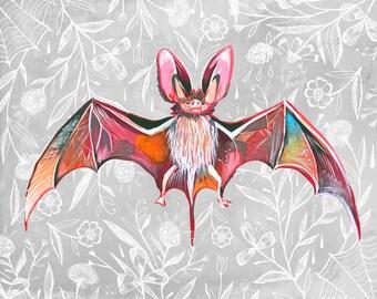 Bat | Art Print | Nature Wall Art | Katie Daisy | 8x10 | 11x14
