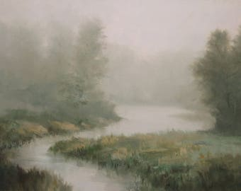 "Limited Edition Gicleé Print, Foggy Tree Lined River Stream, Decorating Wall Art Photo  ""Morning Calm"" David Marty"