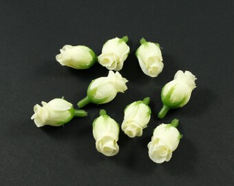 Set of 10 beige button flowers without stem - beige rose