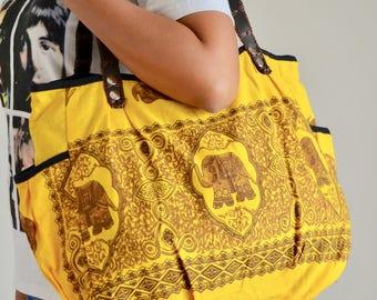 Yellow Elephant Tote Bag Women Shoulder Bag New Mom Diaper Bag Beach Bag Cotton Handbag Travel Bag Market Bag School Bag