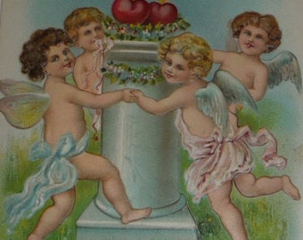 Happiness to My Valentine - Dancing Cupids Antique Valentine Postcard