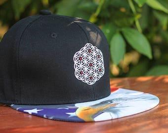 The Circle of Life Sacred Geometry American Eagle USA Print Strapback Hat