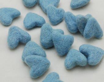 3cm 100% Wool Felt Hearts - 10 Count - Light Blue