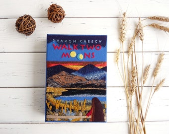 Hand embroidered Book Clutch - Walk Two Moons by Sharon Creech