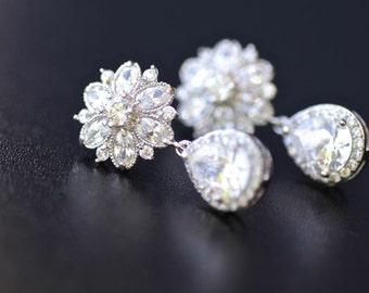 Crystal Stud Earrings, Crystal Stud Wedding Earrings, Crystal Drop Earrings, Silver Bridal Jewelry, Crystal Bridal Jewellery, JENNA Cz