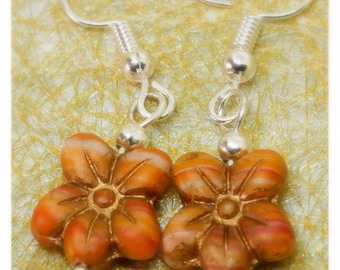 Czech flower bead handmade earrings, silver plated beads and ear wires, floral, nature