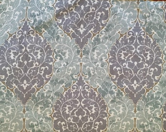 Window Valance/Curtain Valance/Window Topper/Kitchen/Bedroom/Bath/Straight/Curved-LINED-Valance, Virginia Amethyst Fabric/Blue/Grey/White