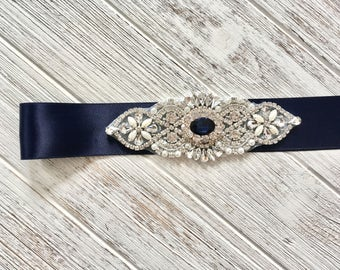 Navy Blue Wedding Belt Sash, Rhinestone Belt Sash, Navy Blue Bridal Belt,  Navy Blue Bridesmaid Belt Sash, Maternity Sash Belt, Crystal Belt