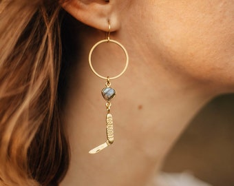 Southern Magick Knife Earrings with Labradorite / Lilith of the South Collection
