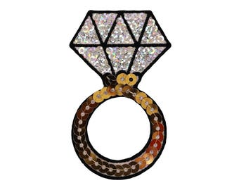 Diamond Ring Iron On Applique, Diamond Ring Patch, Diamond Applique, Sequin Patch, Fun Patch, Kids Patch, Embroidered Patch