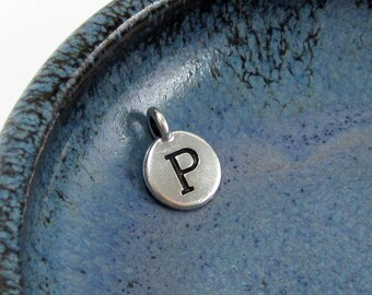 """NEW TierraCast Silver Letter """"P"""" Disk Charm *YOU Collection*"""