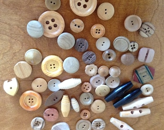 Large Lot of 52 Wooden Buttons, Variety of Colours & Patterns